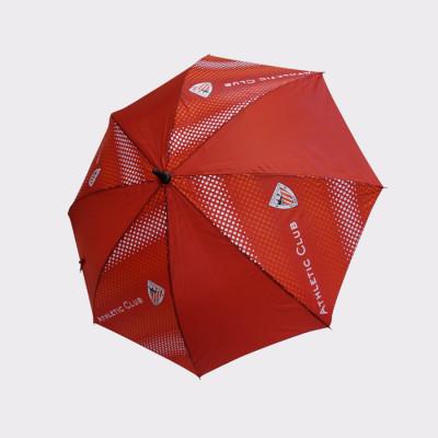 Paraguas de apertura automática del Athletic Club de Bilbao, hecho de fibra de vidrio y metal. Por su tamaño es idóneo para personas adultas. Decorado con el escudo y colores del Athletic Club de Bilbao. Color: Rojo. Medidas: Diámetro 58 cm. Longitud 85 cm