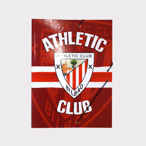Athletic Clubeko orriak sailkatzeko paper-zorroa. Athletic Clubeko ezkutua irudikatua. Kolorea: Gorria. Neurriak: 26x3x34,5 cm