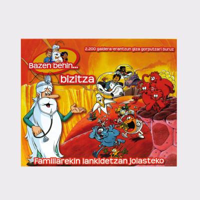 """Bazen behin… bizitza, basado en la famosa serie """"Érase una vez… en el cuerpo humano"""", cuenta con más de 2.200 preguntas divididas en 5 secciones: sistema circulatorio, sistema nervioso, sistema digestivo, sistema inmunológico y enfermedades.  Es un juego cooperativo, todos los participantes tratarán de proporcionar oxígeno a la joven Kira, antes de que la infecten los virus malignos que causan enfermedades. Si lo consiguen ganaran, pero si no, Kira podrá coger un resfriado.  Hay distintos niveles de dificultad. A partir de 3 años."""