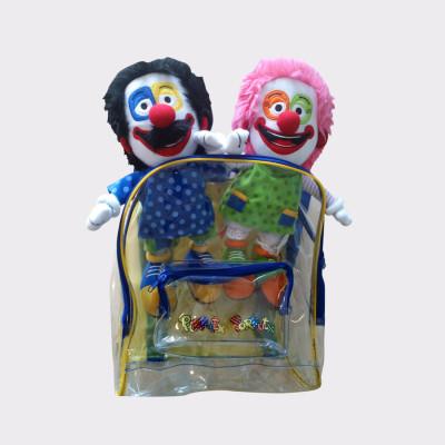 Muñecos de trapo Pirritx eta Porrotx en su mochila. Muñecos de 35 cm.
