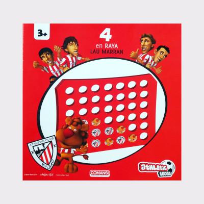 Para jugar a este divertido juego, sólo hace falta tener un amigo con el que disfrutar! El juego consiste en ir colocando tus fichas de una en una y conseguir poner 4 fichas seguidas, de forma horizontal, vertical o bien en diagonal.  También puedes jugar al 3 en Raya! Las instrucciones son las mismas, pero en esta variedad, deberás conseguir alinear 3 fichas en lugar de 4.  Edad: a partir de 3 años.