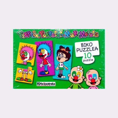 Este juego contiene 10 puzzles de 2 piezas cada uno. Cada puzzle tiene una imagen diferente por cada lado.  Edad: a partir de 2 años.