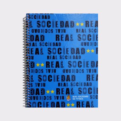 Cuaderno de la Real Sociedad de Fútbol.  Hojas de cuatro colores diferentes.  Medida: 30 x 23 x 2 cm.